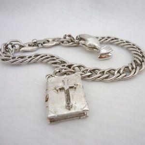 Vintage Monet Silver Tone Charm Bracelet